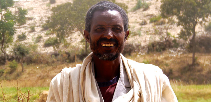 GebreMariam Desalegn from Tigray, Ethiopia, participates in two Irish Aid funded programmes, aimed at improving agricultural production and resilience to climate change.
