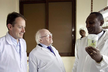 President Michael D Higgins and Minister Seán Sherlock with a visit to Abraha-Atsbeha health centre, Tigray, northern Ethiopia
