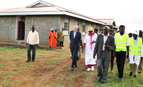 Irish Ambassador to Uganda Donal Cronin with Uganda's First Lady Janet Museveni, on a tour of one of the newly built schools in Karamoja.