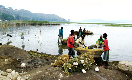 Fishermen at lake Hawassa Ethiopia