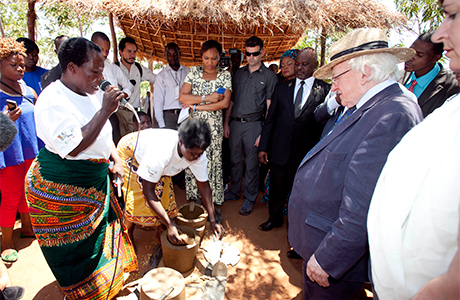 President Michael D Higgins and his wife Sabina viewing a Cook Stove Production and Utilisation Exhibition while on a visit to Saopampeni Village in the Salima District, Malawi. Photo Chris Bellew / Fennell Photography 2014