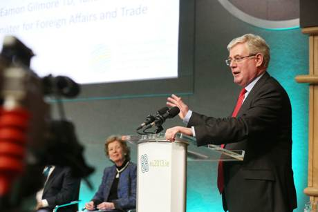 An Tanaiste, Eamon Gilmore, closes the Hunger Nutrition and Climate Justice Conference, April 2013. Photo: Mac Innes Photography