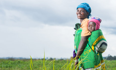 Iebenia mkayula and baby Atupde at field farming school Tanzania